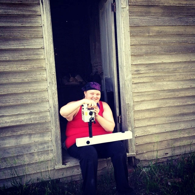 UNL Graduate Student Erin Carr with an FM36 Fluxgate Gradiometer during fieldwork